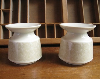 Vintage Modern Candle Holders / White Ceramic Modern Candleholders