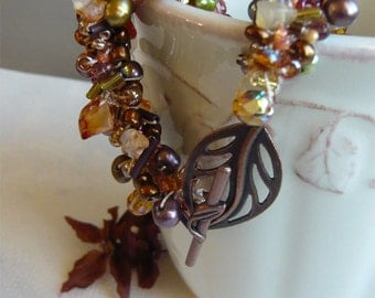 Autumn Leaves - Crochet and Beads - Beaded Bracelet - Fall Color - Crocheted Jewelry