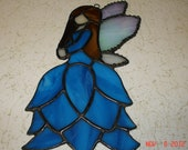 Stained Glass Fairy / Angels with Flower Dress in Cobalt Blue with Blown Hair
