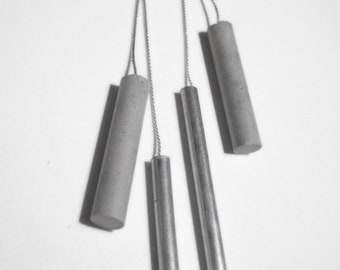 Metal and Concrete Cylinder Earrings