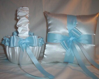 White Satin With Light Blue Ribbon Trim Flower Girl Basket And Ring Bearer Pillow Set 1