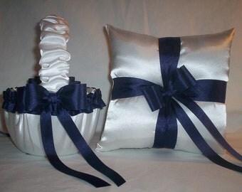 White Satin With Navy Blue Ribbon Trim Flower Girl Basket And Ring Bearer Pillow