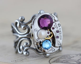 Steampunk Ring Mothers Ring CUSTOM Birthstone Ring Steam Punk Jewelry Watch Ring Personalized Grandmothers Ring Inspired by Elizabeth