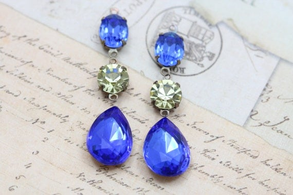 Special Custom order listing for Sarah Bridal Earrings Vintage Clip On - Sapphire & Jonquil Blue Yellow
