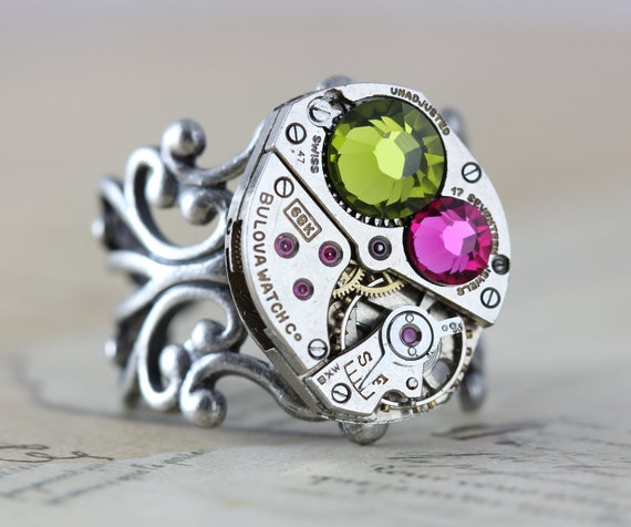 Unique Ring Steampunk Ring - READY TO SHIP Watch Ring Steam Punk Jewelry Pink Green Clockwork Olivine & Pink Swarovski Crystals