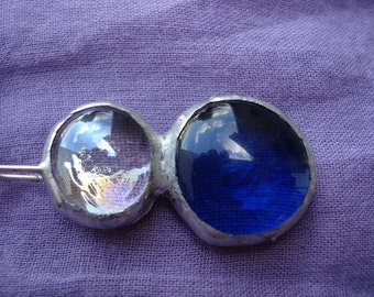 Recycled Iridescent Clear and Navy Blue Glass Bauble Jewlery Free US Shipping