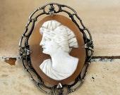 Vintage Carved Shell Cameo Framed in Sterling Silver