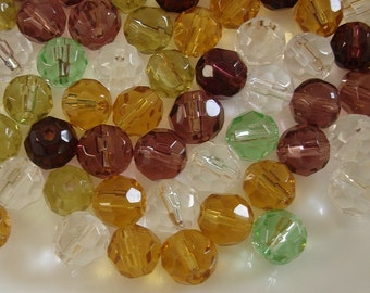 80pcs-Glass Beads Faceted Round Mix Color 8mm.
