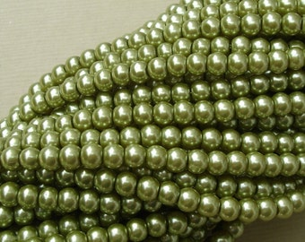 Pearl Bead, Glass,Yellow Green, 4mm, Strand- 32inch.