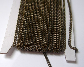 32ft Spool-Antique Bronze Twist  Curbe Tiny Chain Soldered -1.3mm.