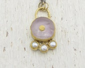 Lavender Amethyst & Pearls Necklace, 24k Gold Amethyst Pendant on Silver Chain