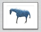 Blue Horse Drawing - 8 by 10 blue horse nature art - print of pastel painting