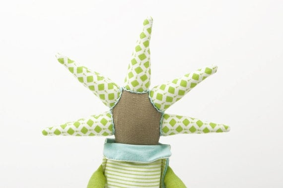 funky handmade  Modern rag doll With cool Haircut - Dressed in green, turquoise ,stripes, flowers and dots