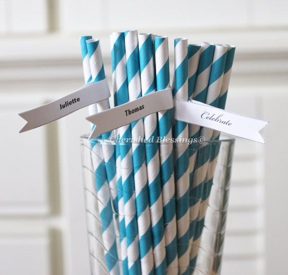 50 Teal Aqua Blue Paper Straws Striped Retro Vintage Style Carnival Circus Wedding Birthday Bridal Baby Shower W/Printable Flags I created