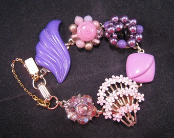 Bridesmaid Gift, Reclaimed, Enamel Flowers, Purple, Lilac, Vintage Earring Bracelet, Cluster Earring, Wedding,Gift Set, OOAK -  Royal Purple