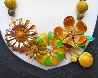 Statement Necklace, Vintage Enamel Flower, Upcycled Brooch, Caramel, Brown, Tan, Bib Necklace, Flower Power - Butterscotch Blossoms