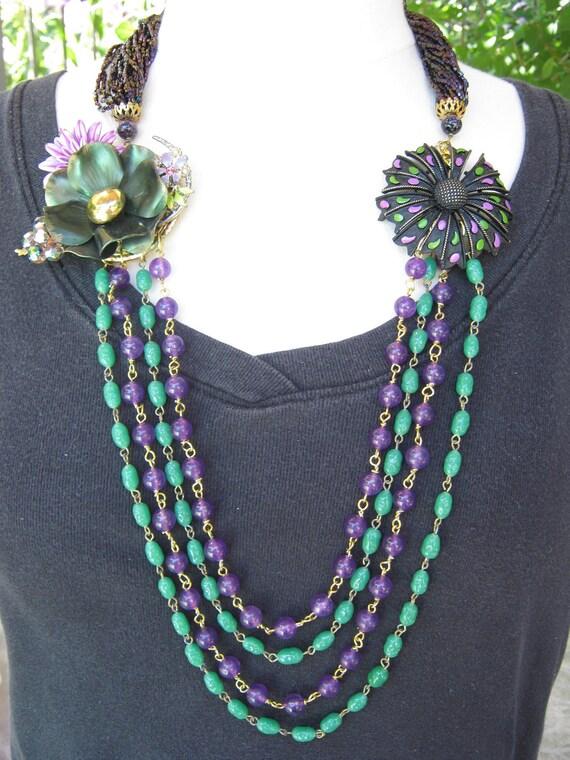 Statement Necklace, Vintage Layered Necklace - Vintage Enamel Flowers, Jade, Beaded, Multistrand - Aubergine
