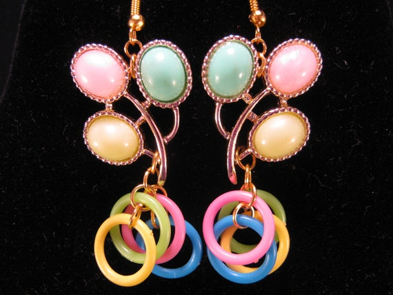 Vintage Earrings, Thermoset Earrings, Reclaimed Earrings, Statement, Under 25, Jennifer Jones, Whimsy, Pink, Green, Yellow - Loop de Loop