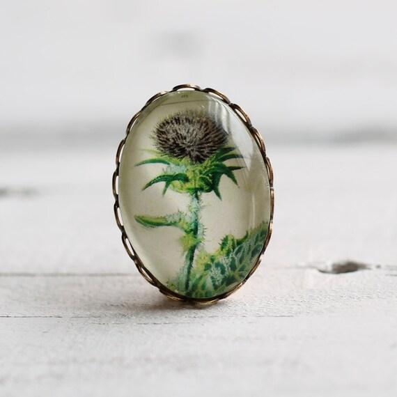 Thistle Brooch ...  Antique Botanical Print Scottish Pin Badge