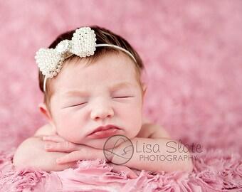Baby headband, newborn headband, adult headband, child headband and photography prop The ELEGANT all pearl bow exclusive sprinkle headband