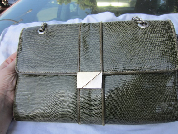 RESERVED Designer French Avant Garde Olive Green Reptile Leather Purse