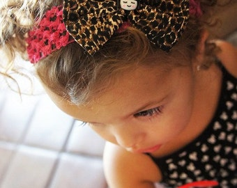 Olivia Paige - Little Pin up Leopard bow strange doll infant/toddler headband