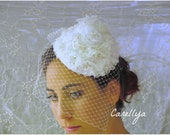 Victorian Hat Fascinator With Birdcage Veil - Bridal Cap With Lace - WHITE GODDESS - Alix