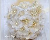 Fabric Bridal Bouquet Vintage Lace Pearls Flowers, Wedding Lace Bouquet