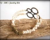 White natural Pearl duble rows Bracelet // pearls bangle // bride bracelet