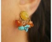 Chic  Romantic Cluster gemstone studs bezel earrings