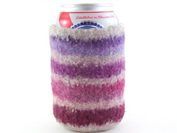 Felted Can Cozy - Wildflower Stripes - Purple, Raisin, Rose & Wine