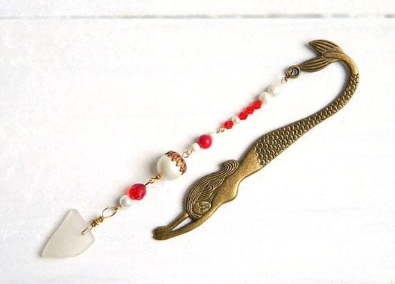 Mermaid Sea Glass Bookmark - Beaded Red & White Geuine Chesapeake Beach Glass