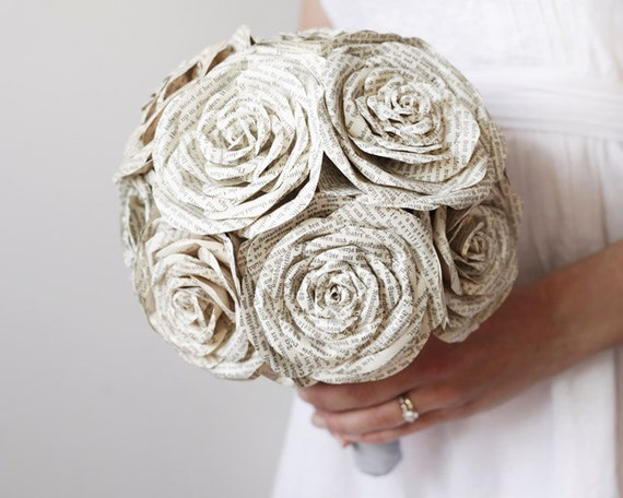 Storybook Rose Bridal Bouquet - Ivory Paper Wedding Flowers made from Antique Books - Blue Gray Linen and Pearl Handle