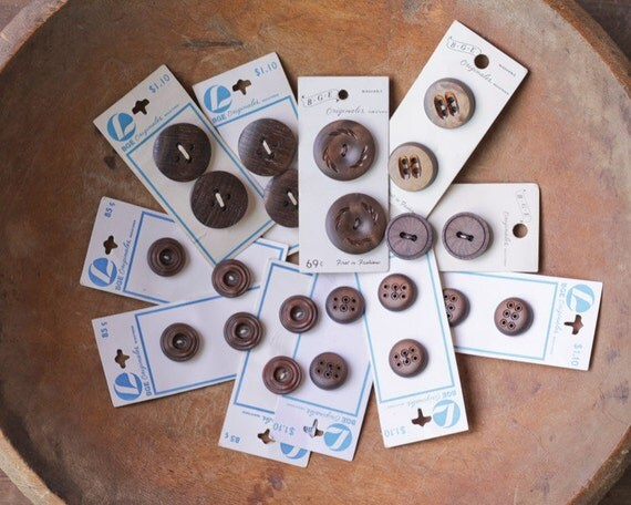 Vintage Carded Buttons - Espresso Browns, 1960s Fancy Plastic, Lot of 11 Cards - 22 Buttons