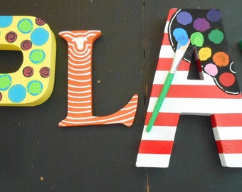 Jez4U Custom Whimsy Hand painted Letters Special ORDER for the Word PLAY
