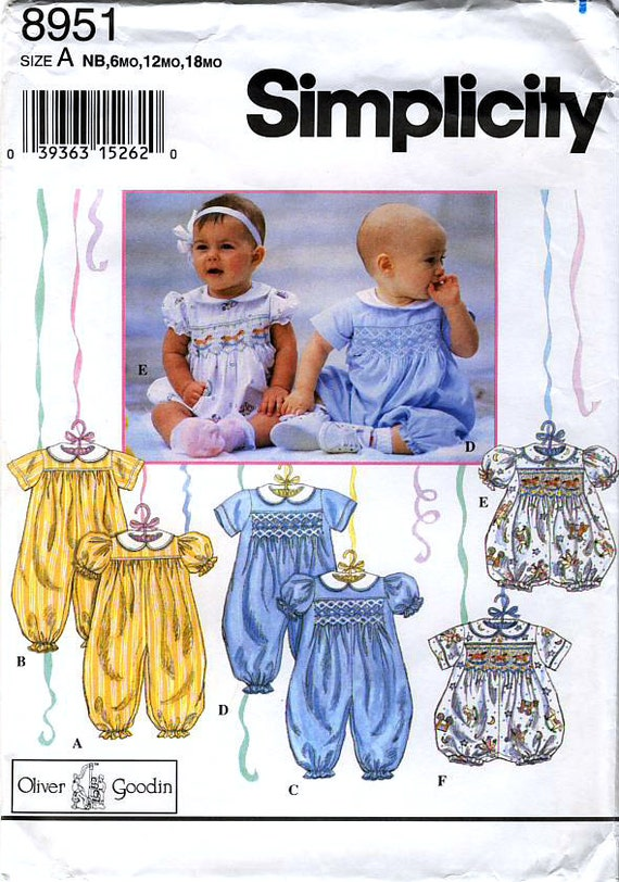 Simplicity 8951 Designed by Oliver Goodin Babies' Romper in Two Lengths with Transfer for Smocking Sewing Pattern - Uncut
