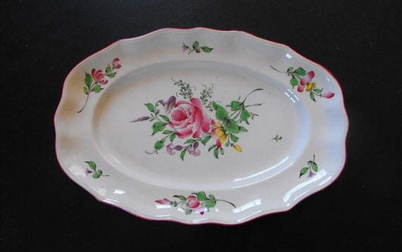 Antique French Luneville Platter c.1900-1930 Hand Painted Flowers