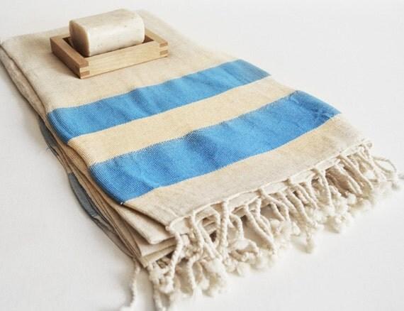 Turkish BATH Towel Peshtemal - LINEN - Blue