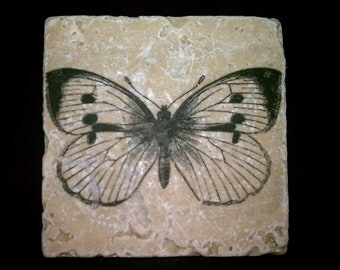 "Drink Coasters, Butterfly Coasters, Natural Stone Coasters, 4"" x 4"" Tumbled Stone"