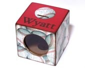 Piggy Bank Wood Coin Bank Box with Window for Kids - Baseball - Sports - Personalized