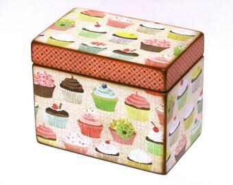 Cupcake Recipe Box - 4x6 inch wooden recipe card box