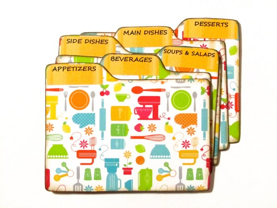 Recipe Box Dividers made of Formica - Kitchen Gadgets - 4x6 inch recipe card divider tabs