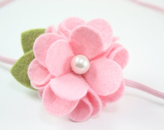 Felt Flower Headbands - Light Pink Felt Flower with Pearl - Baby Headband