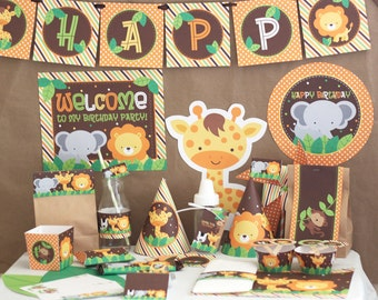 Jungle Safari Birthday Party Decorations - Jungle Animals Birthday - Printable DIY Party Kit - Instant Download - Jungle Party