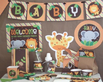Safari Jungle Baby Shower Decorations Printable - Instant Download - Safari  Baby Shower Decorations - Safari