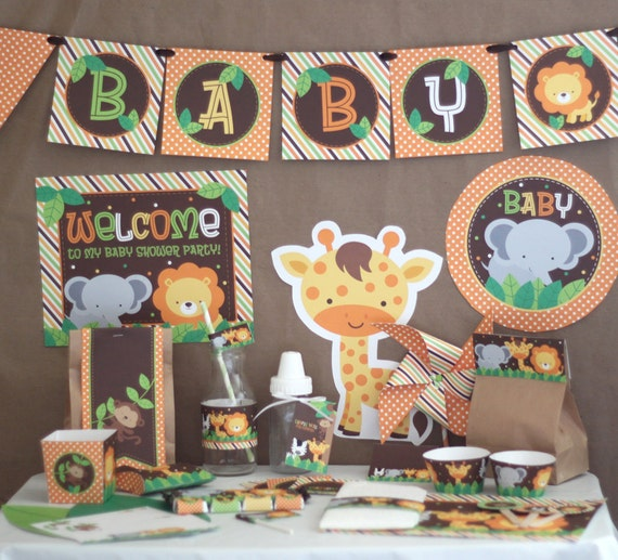Safari jungle baby shower decorations printable instant for Animal party decoration