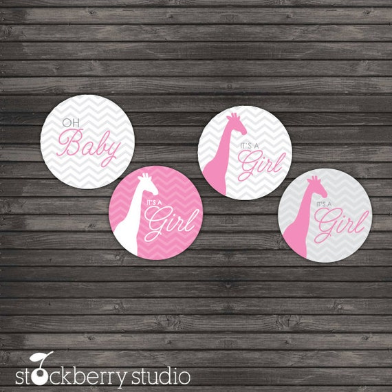Chevron Giraffe Baby Shower Favor Tags Printable - Pink and Gray Baby Shower Cupcake Toppers - Girl Baby Shower Thank You Tags - Pink Grey