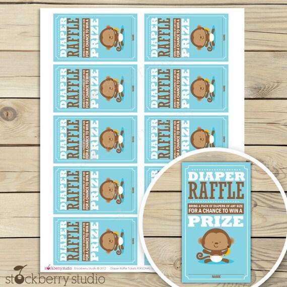 Monkey Baby Shower Diaper Raffle Tickets - Instant Downloard - Blue Baby Shower Diaper Raffle Cards - Diaper Raffle Insert