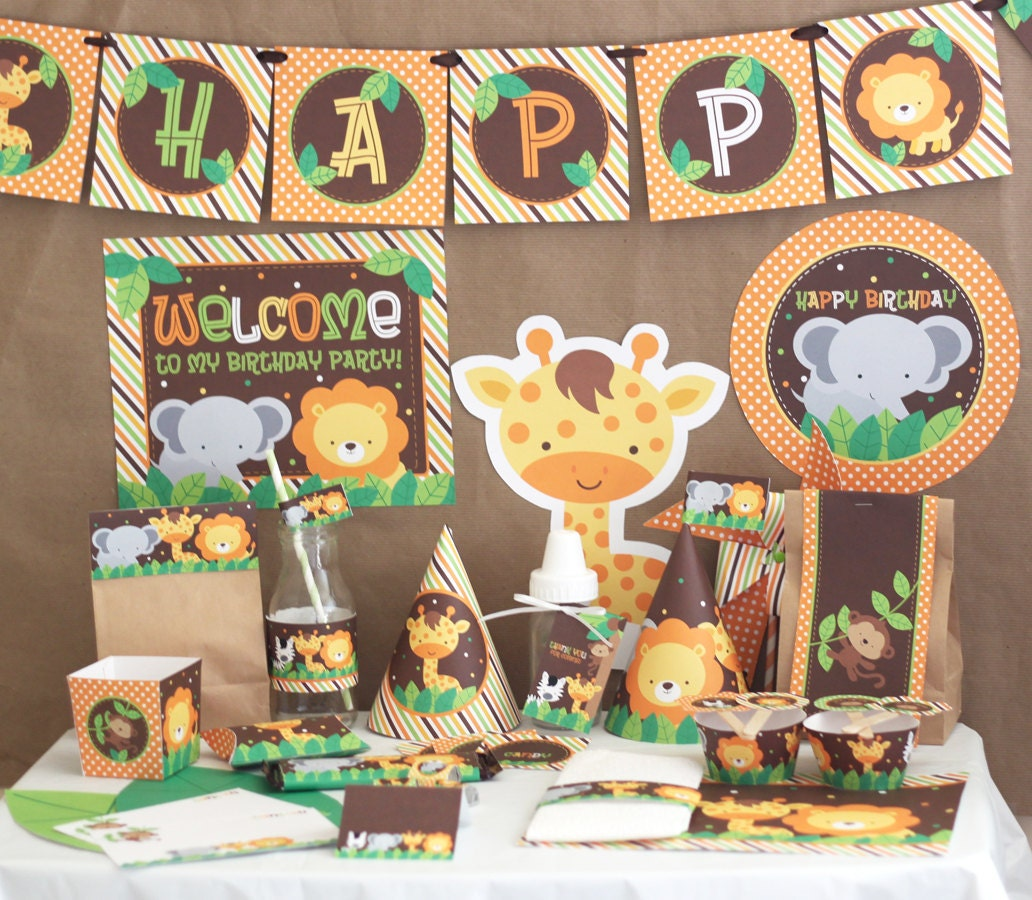 Jungle safari birthday party decorations jungle animals for Art decoration pdf