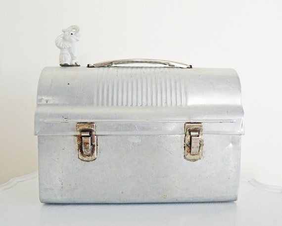 Vintage Silver Lunch Box Aluminum Industrial Metal with Thermos Holder Tool Box Supply Case Back to School Autumn Fall